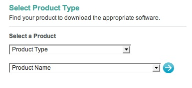 Image of two selects used to choose a product based on a list of categories in an attempt to download a driver from the Logitech website