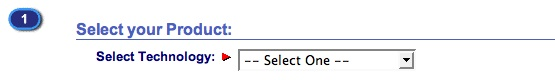 Image of two selects used to choose a product based on a list of categories in an attempt to download a driver from the Okidata website