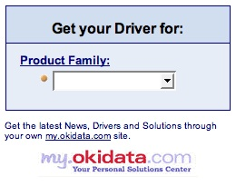 Image of poor JavaScript implementation on the Okidata driver downloads page
