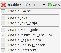 Disable context menu of the Web Developer Extension for Firefox