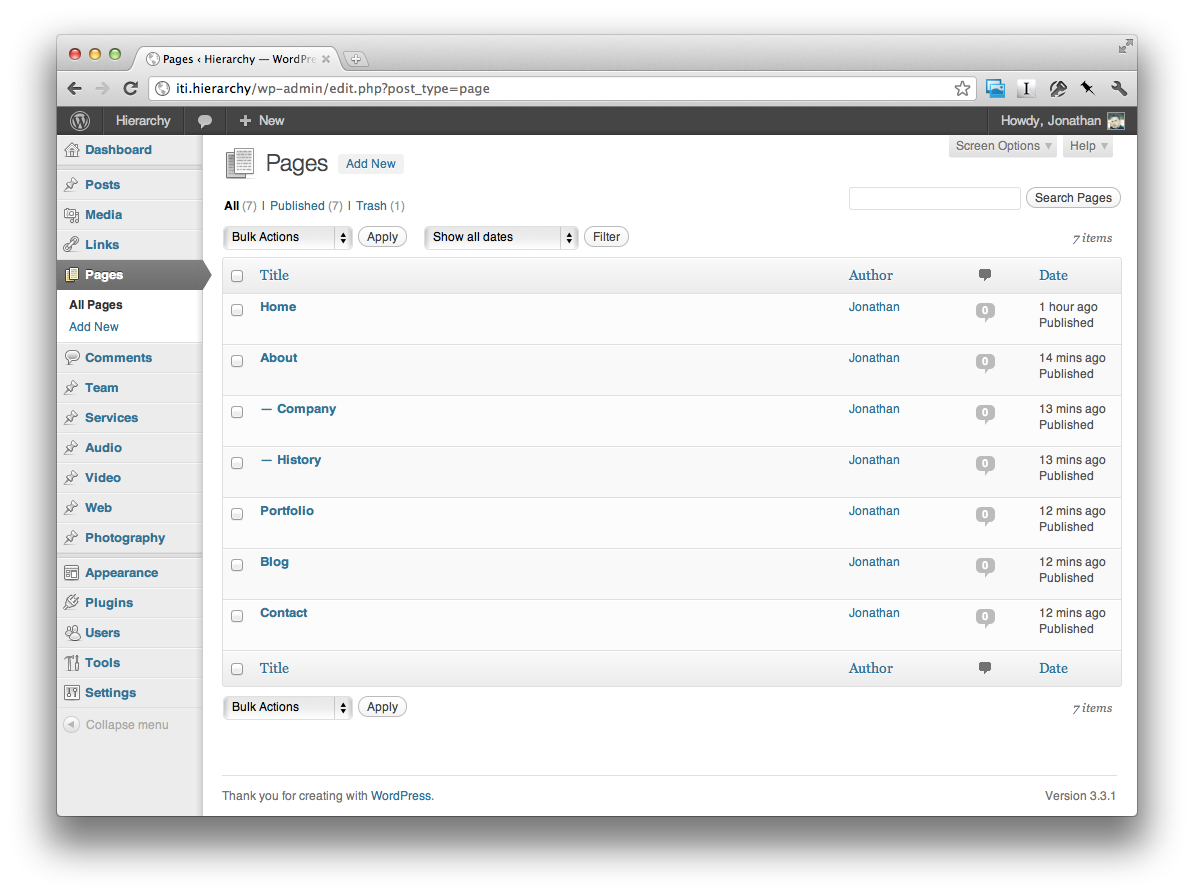 Screenshot of the WordPress admin